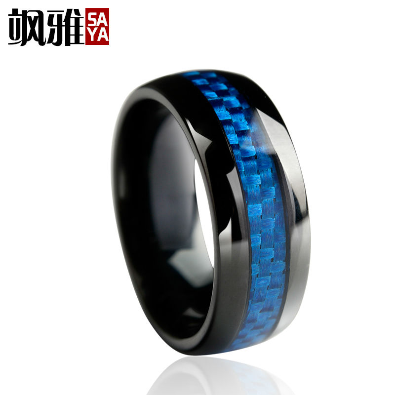 Vintage Style 8mm Men's Black Plated Tungsten Carbide Engagement Ring Wedding Band Blue Carbon Fiber Inlay Comfort Fit Full Size