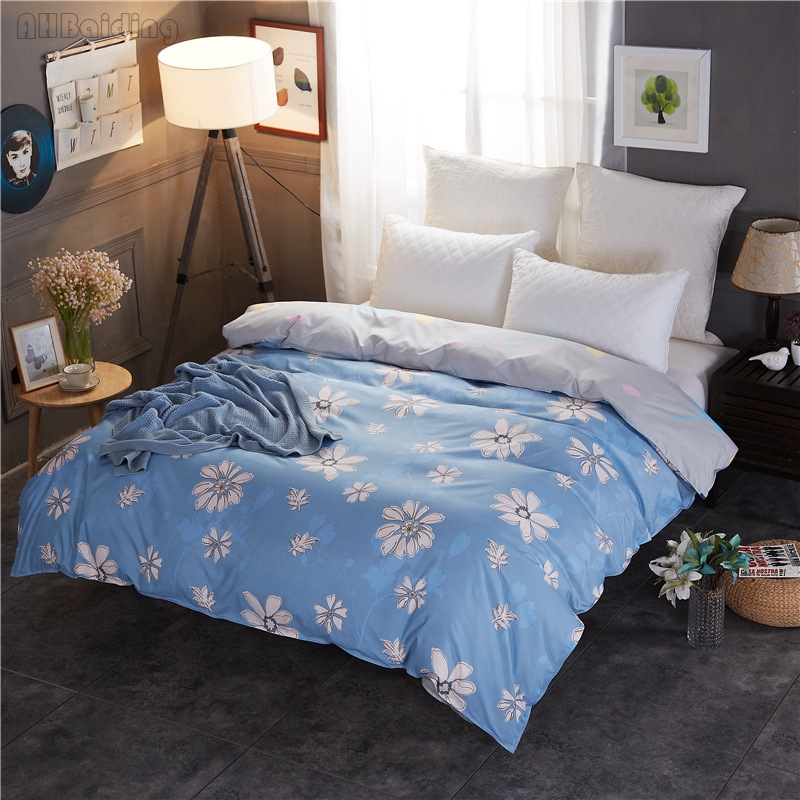 Hot Sale White Flower on Blue Duvet Cover 1 Pc Pastoral Bedding Set Quilt Cover with Zipoer Twin Full Queen Size Free Shipping