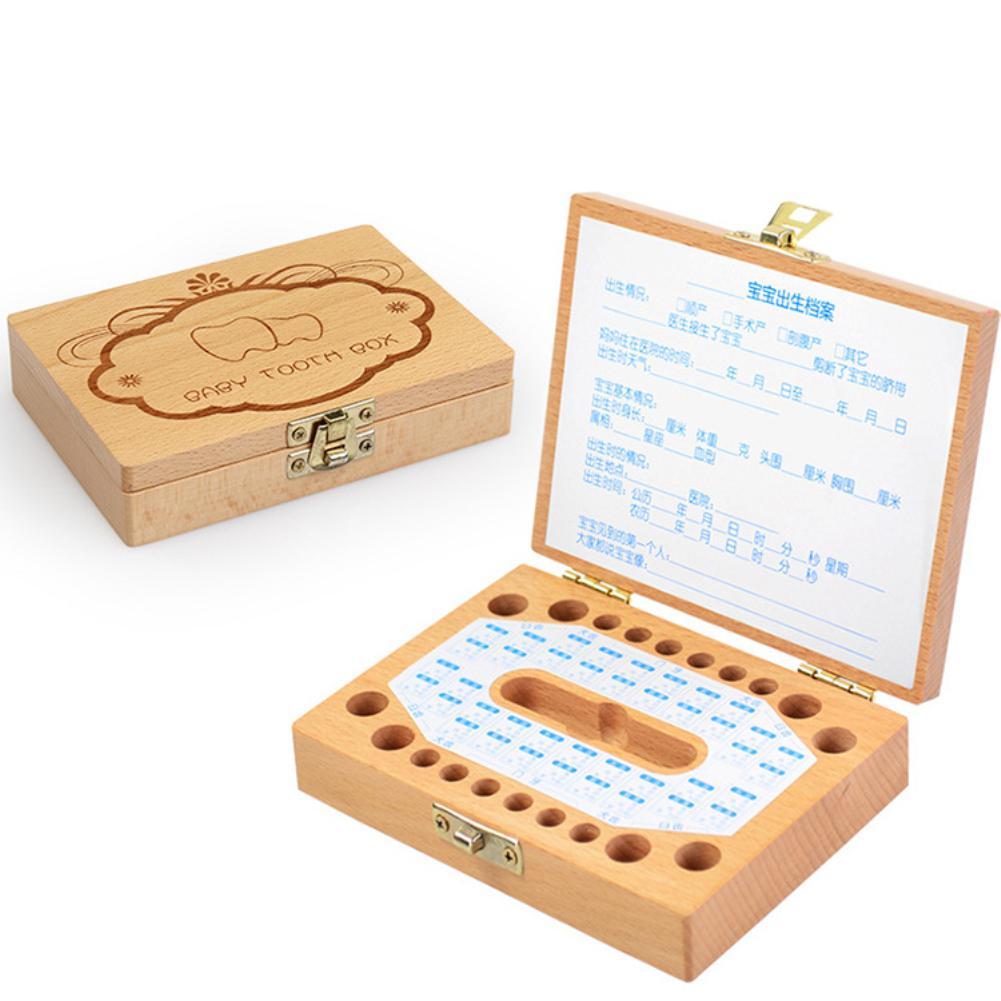 Wooden Baby Kids Tooth Storage Box Organizer Woodedn Storage Box Save Baby Milk Teeth Gift Keepsakes Save