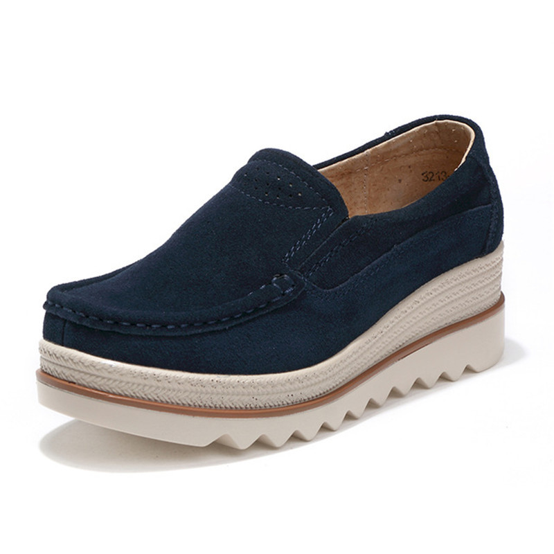 2018 Autumn women flats shoes platform sneakers shoes leather suede casual shoes slip on flats heels creepers moccasins 35-42