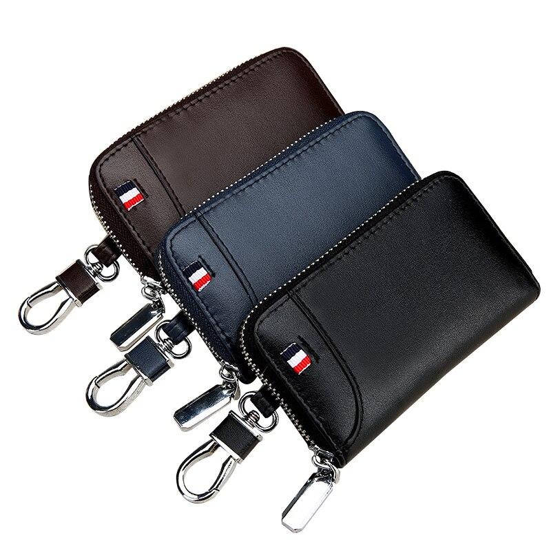 Couro genuíno titular da chave dos homens carteiras chaves do carro organizador governanta feminino chaveiro carteira com zíper caso chave bolsa