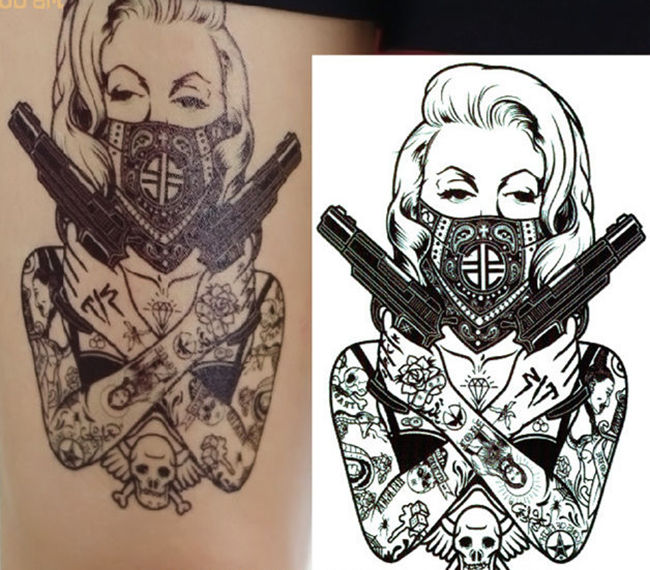 2016 new design cool tattoo girl with guns 19x12cm waterproof temporary tattoo stickers in temporary tattoos from beauty health on aliexpress com
