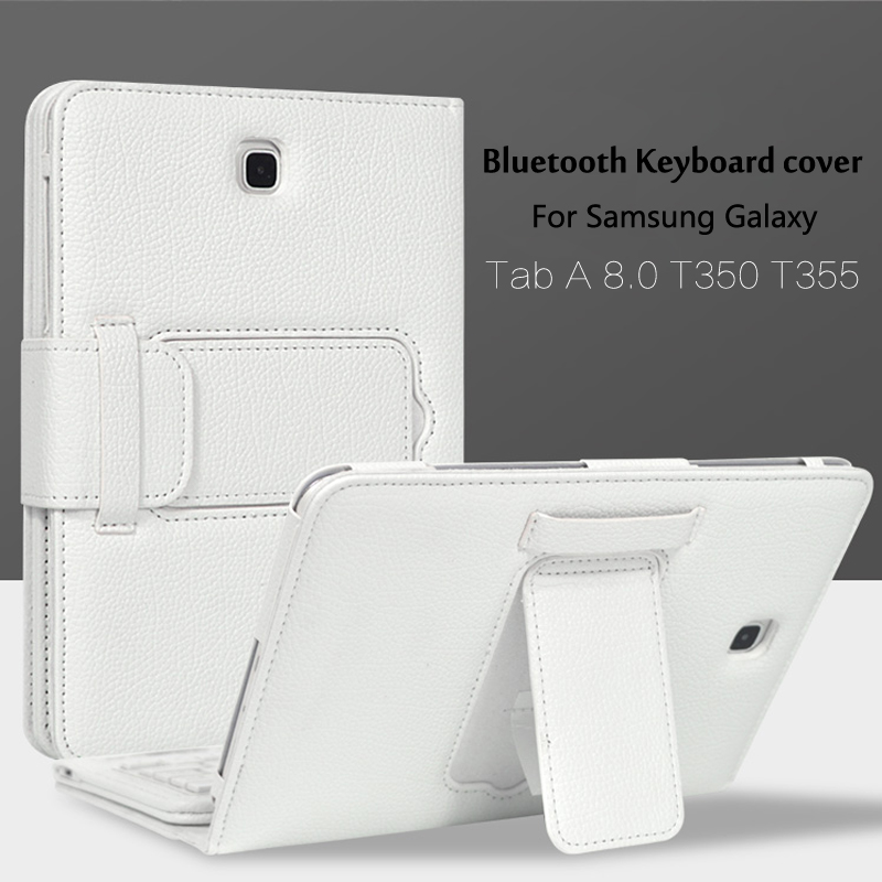 Wireless Bluetooth Keyboard +PU Leather Cover Protective Smart Case For Samsung Galaxy Tab A 8.0 Inch Tablet T350 T355 P350+Gift removable wireless bluetooth russian hebrew spanish keyboard stand pu leather case for samsung galaxy tab a 9 7 t555 t551 t550