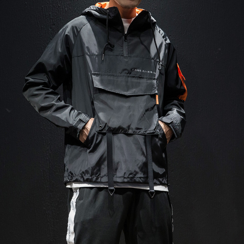 Plus Size Autumn Men Jacket Front Pocket Patchwork Color Hooded Coat Men Clothes 2019 Long Sleeve Loose Windbreaker Outwear 5XL