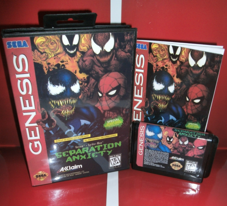 Spider-Man and Venom - Separation Anx US Cover with Box and Manual For Sega Megadrive Genesis Video Game Console 16 bit MD card