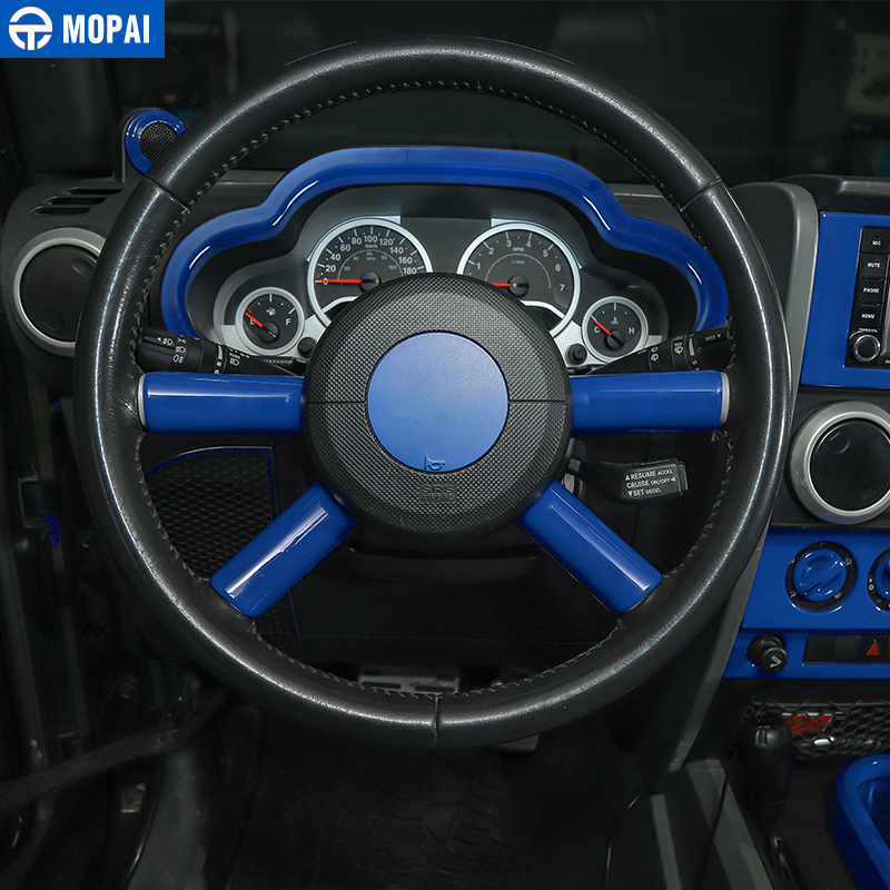 Image 3 - MOPAI Car Dashboard Steering Wheel Speaker Air Vent Interior Decoration Cover Kit for Jeep Wrangler JK 2007 2010 Car Accessories-in Automotive Interior Stickers from Automobiles & Motorcycles
