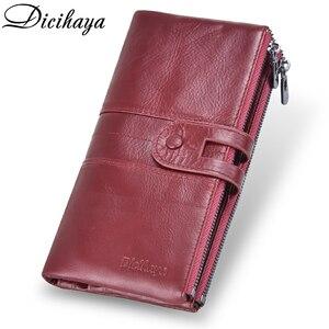 Image 2 - Dicihaya 新しい本革女性財布ジッパーロング女性革電話バッグブランドコイン財布牛革財布カードホルダー