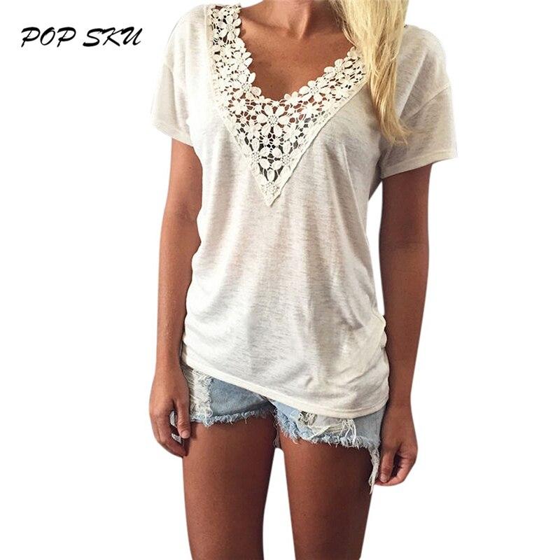 plus size lace whtie shirt 2016 summer ladies t shirts. Black Bedroom Furniture Sets. Home Design Ideas