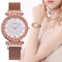 купить Luxury Diamond Women Rose Gold Watches Fashion Full Diamond Magnet Watch Ladies Crystal Dress Quartz Wristwatches montre femme дешево