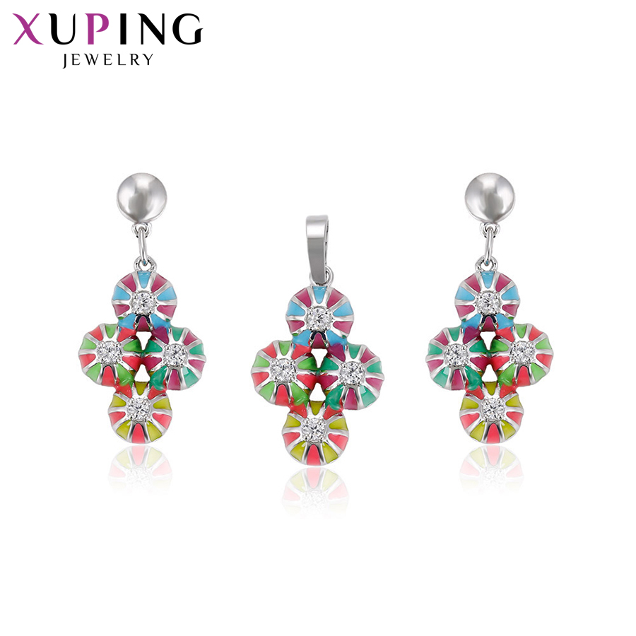Xuping Fashion Flower Design Popular Style Set for Girls Women Hot Sell Imitation Jewelry Sets for Thanksgiving S71,2-62850