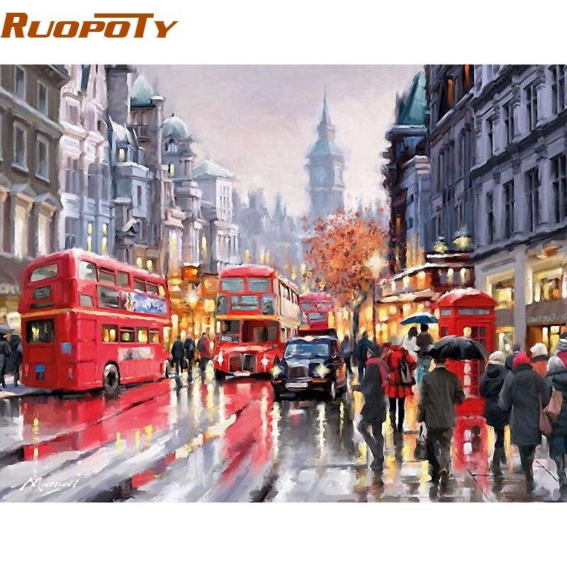 RUOPOTY Pioggia Via Europa Moderna Pittura di Diy Dai Numeri Dipinto A Mano Olio Su Tela Per La Decorazione Domestica Opere D'arte 40x50 cm
