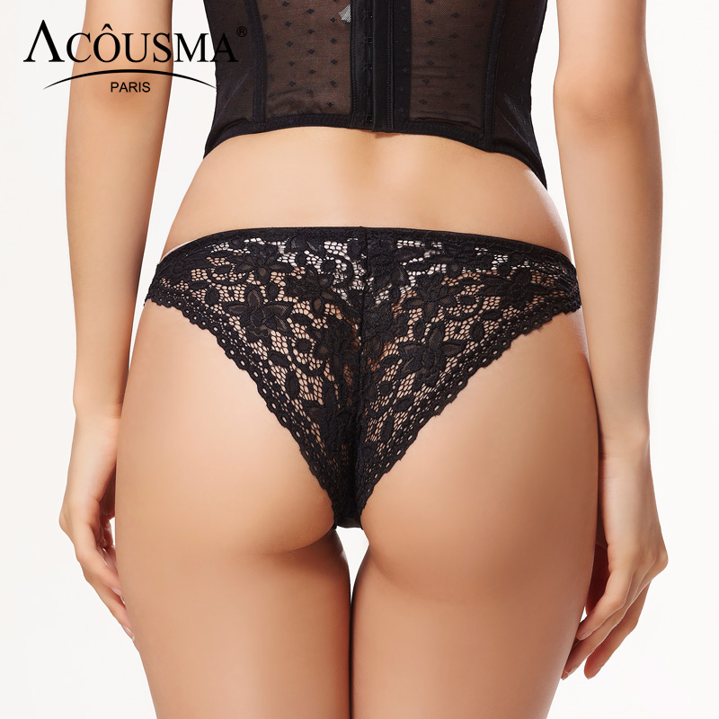 ACOUSMA Women Sexy Bowknot Floral Lace Back Hollow Out T Back Thongs   Panty   Comfortable Underwear Casual Ladies   Panties   Lingerie
