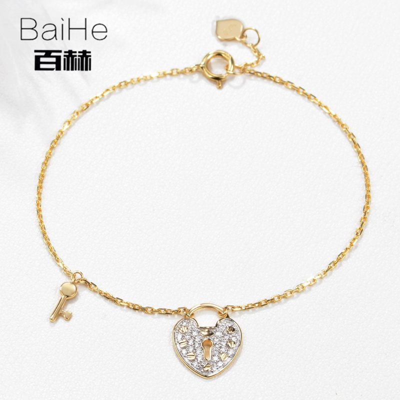 BAIHE Solid 14K Yellow Gold 0.13ct Certified H/SI 100% Genuine Natural Diamonds Anniversary Women Trendy Fine Jewelry Bracelet цена