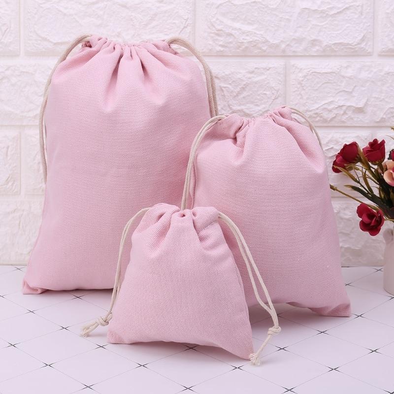 THINKTHENDO Women Drawstring Sack Bag Beam Storage Food Clothes Bags Shopping Travel Gifts Pink S/M/L Drawstring Bags