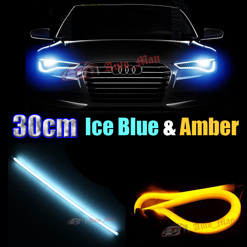 2x 30cm Ice Blue&Amber switchback Tube Style Soft LED Strips Lamp Indicator DRL&Turn Signal for Car Motor Headlight Light E010