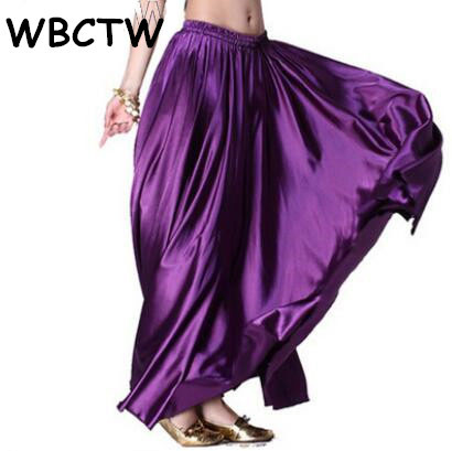 20230a21dd9 WBCTW High Elasticity Pleated Skirts 10XL Plus Size Casual Autumn Spring  Jupe Femme Solid Purple Satin Maxi Skirt