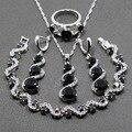 Increíble 925 Mujeres de Plata de Ley 4 UNIDS Sistemas de la Joyería de Circón Negro Pulsera/Los Pendientes/Colgante/Collar/anillo Regalo JS01