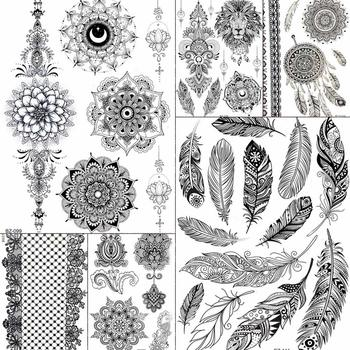 Sexy Black Feather Mandala Flower Henna Temporary Tattoos Stickers Women Girls Body Large Boho Tattoo Arm Fake Tatoo Wedding