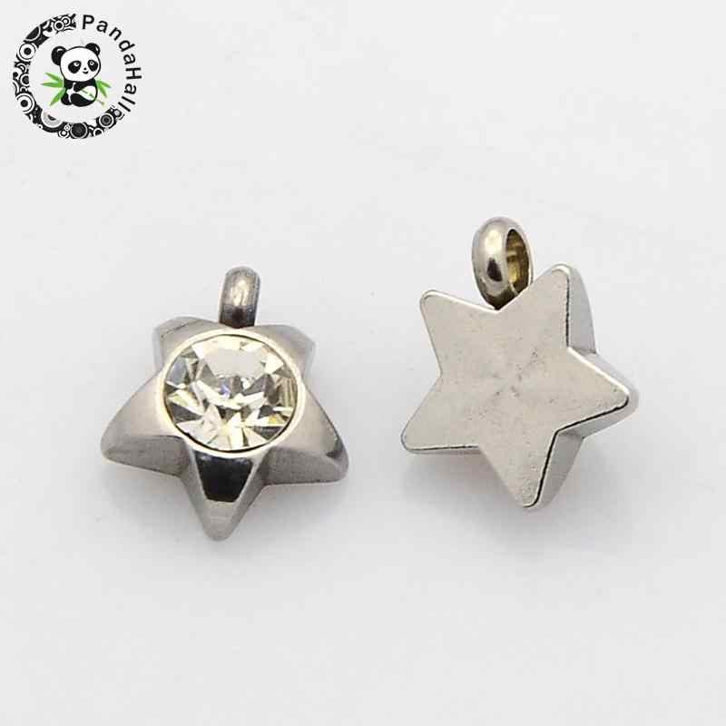 Yıldız Faceted 304 Paslanmaz Çelik Sınıf A Rhinestone Charms Kolye, Paslanmaz Çelik Renk, Kristal, 9x8x3mm, Delik: 1mm