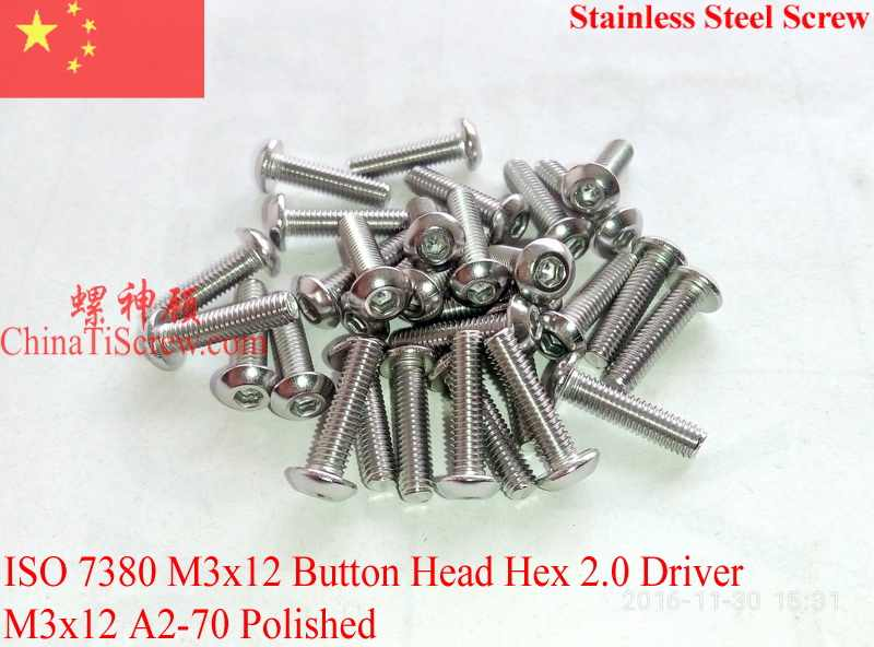 Stainless Steel Tombol Kepala sekrup M3x12 ISO 7380 Hex Driver A2-70 Dipoles ROHS 100 pcs