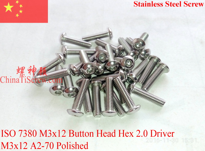 Stainless Steel screws M3x12  Button Head  ISO 7380 Hex Driver A2-70 Polished ROHS 100 pcs
