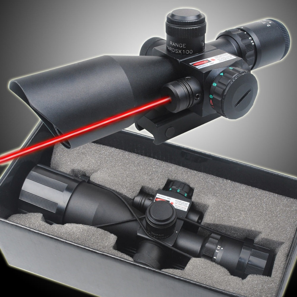 2.5-10x40 Tactical Rifle Scope with Red Laser Combo Optical Sight with Illuminated Red Green Mil-dot Crosshair for Hunting Rifle hunting red dot sight tactical 3 9x40dual illuminated mil dot rifle scope with green laser sight combo airsoft weapon sight