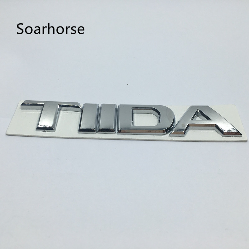 Soarhorse Car Styling 3D Chrome Emblem For Nissan TIIDA Sticker Refit Accessories Letter Trunk Badge Modified Decal chrome c180 letters for c 180 c class trunk emblem badge sticker
