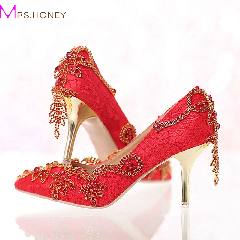 ФОТО Red Lace Bride Shoes with Tassel Rhinestone Stiletto High Heel Wedding Dress Shoes Pointed Toe  Crystal Formal Dress Pumps