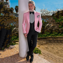 Latest Wide Peak Designs Pink Men Suits for Wedding Groom Tuxedos 3Piece Man Blazer Black Costume Homme Slim Fit Terno Masculino