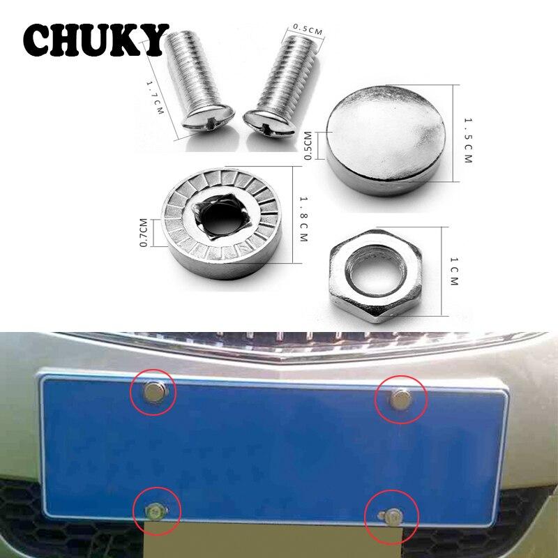 1 Set Stainless Steel Car License Plate Bolts Frame Chrome Screws For Toyota Corolla Rav4 Yaris Chr Kia Ceed Rio 3 4 Cerato