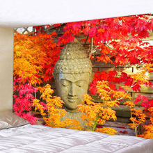 Red And Yellow Leaves Buddha Statue Polyester Wall Hanging Tapestry Mandala Bohemia 5 Sizes Travel Sleeping Pad Fabric