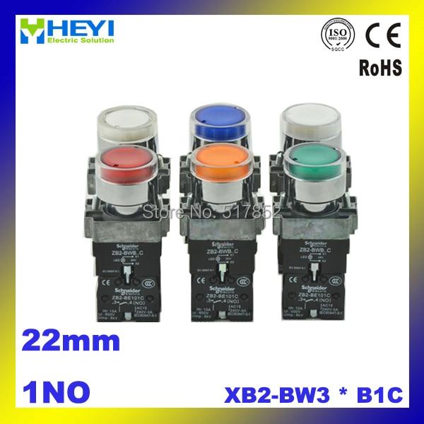 d0744eca40c 10 PCS XB2-BW3   B1C AC220V lâmpada cinto de Metal botão interruptor  momentâneo 22mm Cor opcional