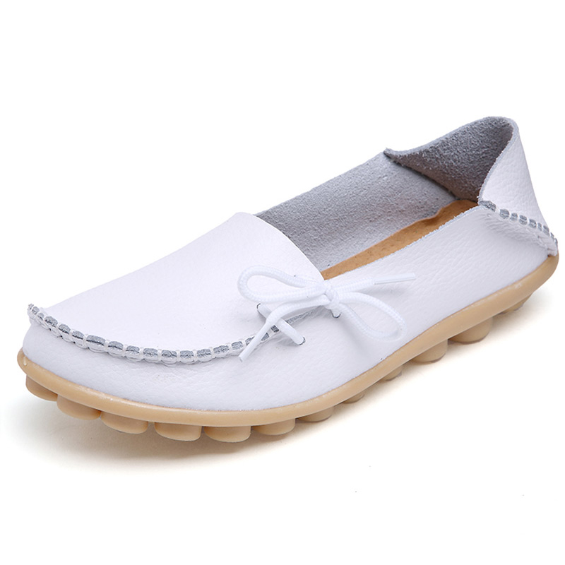 Flats Shoes Women Genuine   Leather   Shoes Moccasins Mother Loafers Soft Driving Ballet Footwear