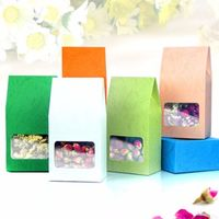 6 Colours 8 x 15.5 +5cm Embossing Kraft Paper Side Gusset Bag With Window Food Storage Pouch