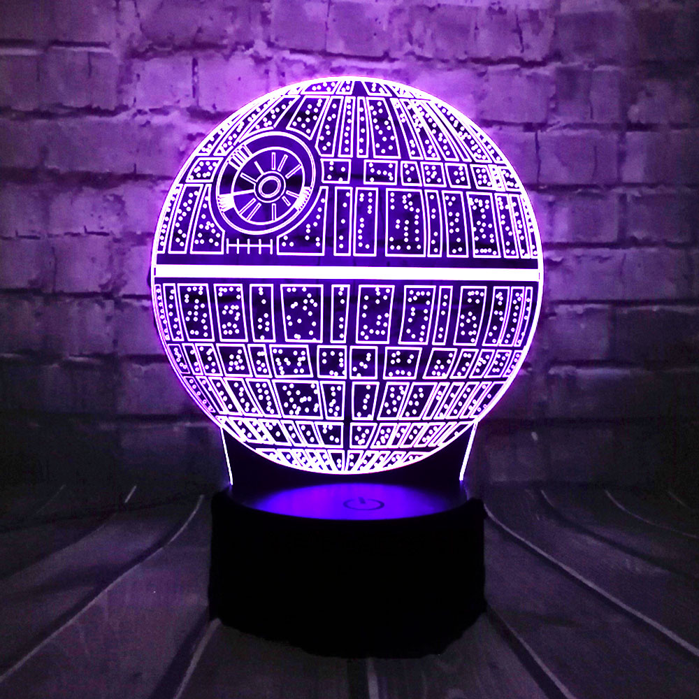 Hot Sale Film Star Wars 3D USB LED-lampa Astro Cartoon Death Star Färgglad kullampa Atmosfär lava Nattljus belysning gåvor