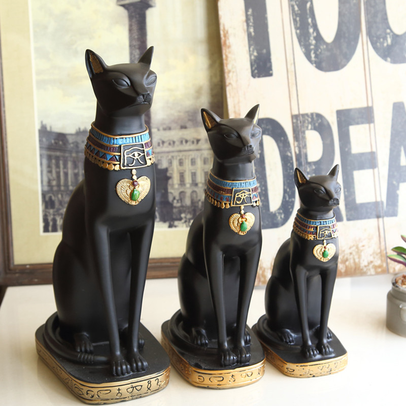 Egypt Moon Goddess Bastet Incarnation Cat God Figurine 1PC Resin Black Decor Collectible Creative Gift Home Accessories Crafts