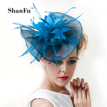 acc3a5a991a ShanFu Women Large Flower Feather Wedding Hat Girl Charming Sinamay  Fascinators. US  26.78   piece Free Shipping