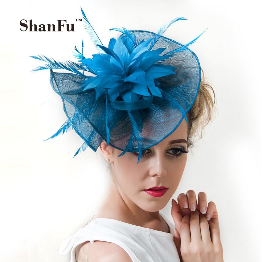 ShanFu ženy velké květinové peří svatební klobouk dívka okouzlující Sinamay Fascinátory design se zvláštním tvarem módní přilba12329
