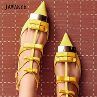 2018 Luxury Satin Bow Gladiator Sandals Woman Pointed Toe Metal Decor Three Belt Ankle Strap Flat Shoes Women Party Shoes