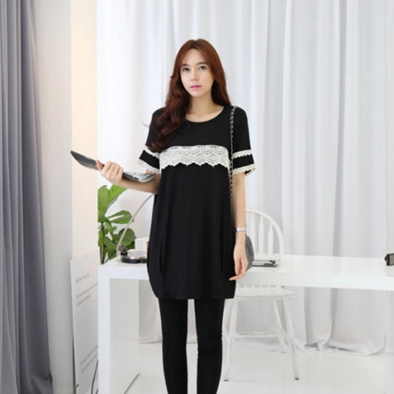 Summer Black Maternity Breast Feeding Dress Pregnant Women Nursing Wear Clothing Pregnancy Cotton Lace Lactate Vestidos 2017