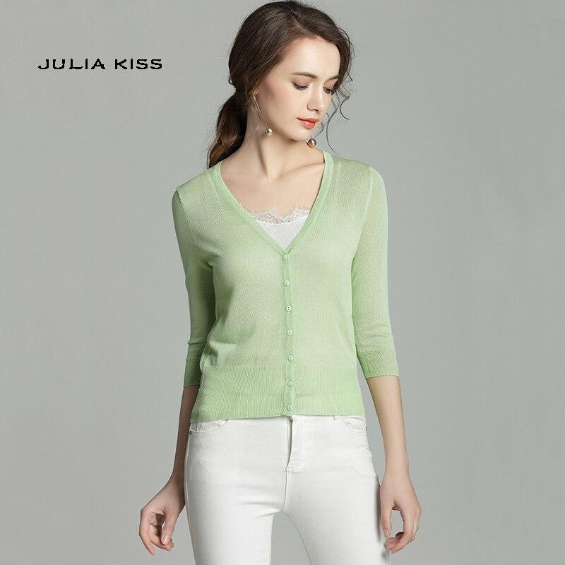 3da3383eefee Macaron colores más tamaño femenino viscosa medio cuarto manga cuello en V  diseño corto cardigans protección solar camisa aire ultra fino