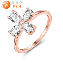 Wedding Ring 18k Rose Gold Plated Plant Zircon Austrian Crystal Fashion Women Cocktail Finger Rings for Party Gift Drop Shipping new luxury plant ring rose gold color zircon crystal fashion women cocktail finger rings for party gift wedding girls