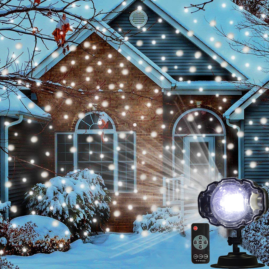 Thrisdar Moving Snowflakes Laser Projector Lamp Outdoor Christmas Snowfall LED Stage Light Holiday Party Garden LED Spotlight