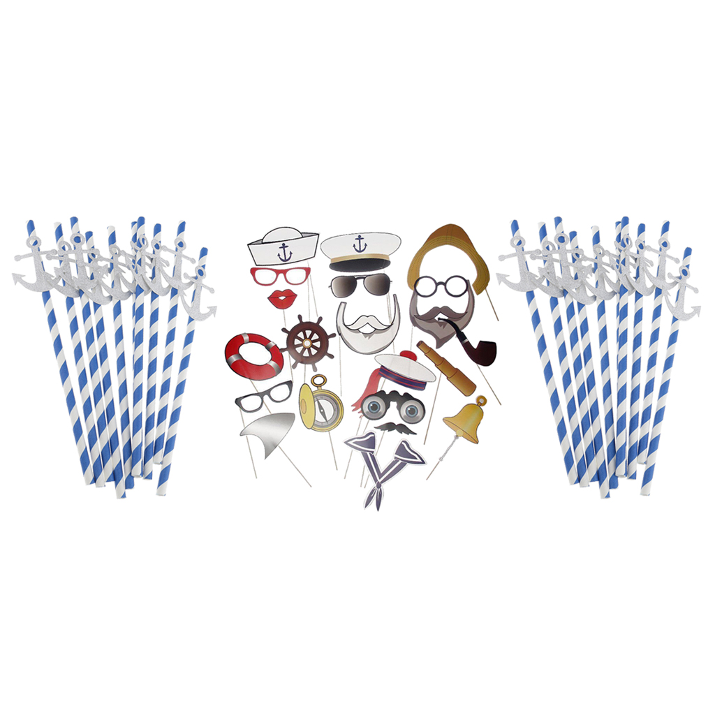 Sailor Photo Booth Prop Captain Navy Hand Held Photo Background+ Nautical Anchor Paper Disposable Straws Party Supplies