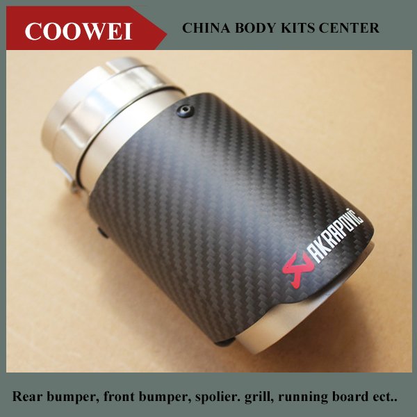 1pcs Carbon Fiber Exhaust Tip 63mm Inlet//114mm outlet Car Akrapovic Muffler Pipe