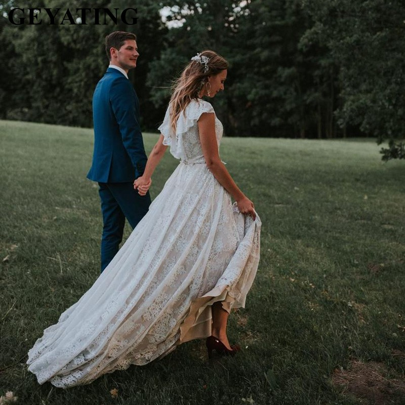 Rustic Lace Boho Champagne Country Style Wedding Dress 2019 Ruffled Backless Beach Bridal Gown Vintage A-line Hippie Bride Dress