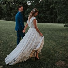 Lazo rústico Boho champán boda de estilo campestre 2020 vestido con volantes vestido de traje nupcial de playa Vintage vestido de Hippie vestido de novia