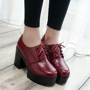 Image 4 - 2019 new thick with high heels thick sole shoes British womens shoes autumn laces students round head ladies casual women shoes