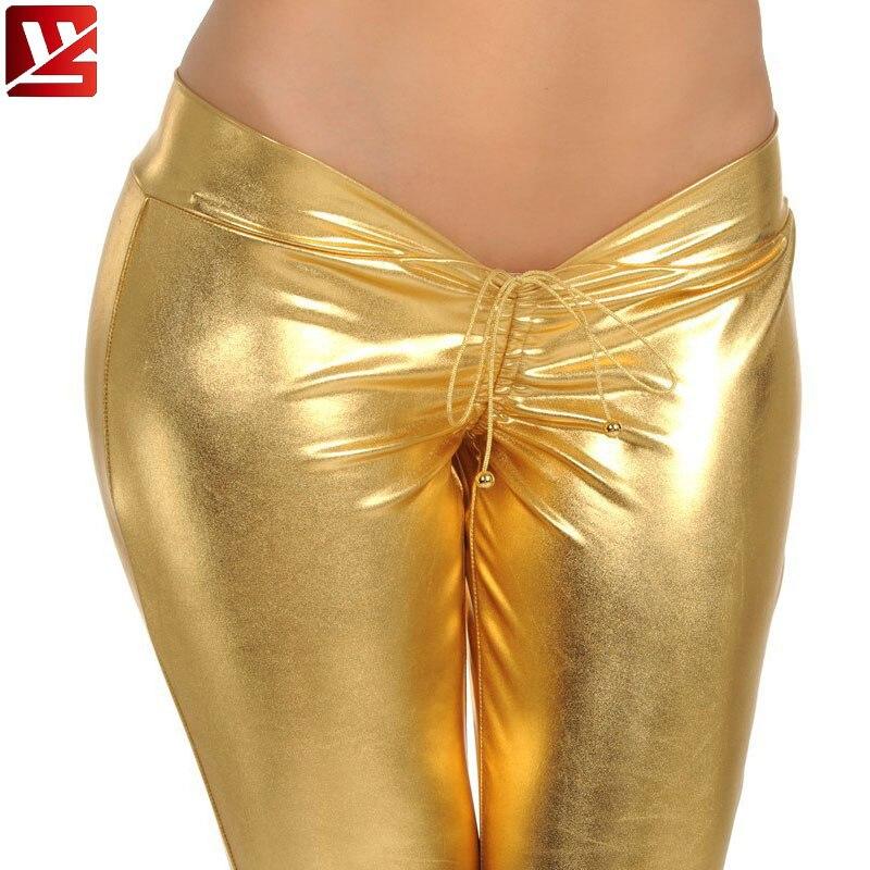 MEISE Plus Size PU Shiny Bandage Pencil   Pants   Hip-pop Low Waist Leggings Hot   Pants     Capris   Moto & Biker Stage Wear For Women F65