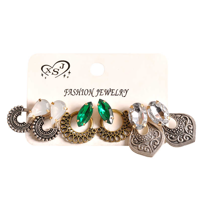 2018 fashion women's jewelry wholesale girls birthday party pearl earrings set mashup 3 pairs /set earrings Free shipping